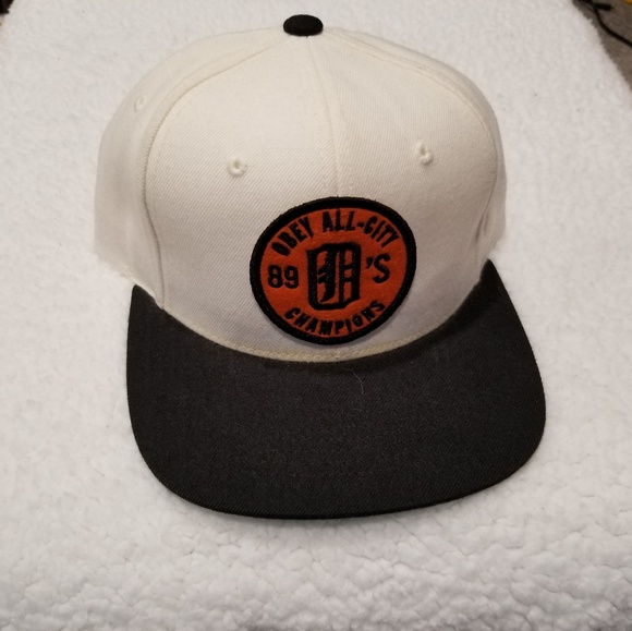 8599a2dfc83f36 Obey All City 89's Champions Snapback Hat White. M_5bdf6c111b3294a1d0828bcb